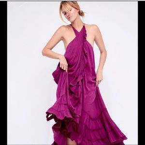 Free People violet purple Ruffle Halter Dress S